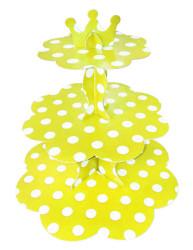 - Puantiyeli Sarı Cupcake Standı