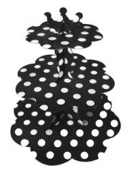 - Puantiyeli Siyah Cupcake Standı