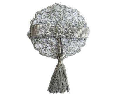 Fiyonk Dantelli Püsküllü 10 Cm Gümüş