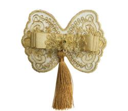 - Fiyonk Dantelli Püsküllü Kelebek 10 Cm Altın