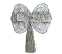 - Fiyonk Dantelli Püsküllü Kelebek 10 Cm Gümüş