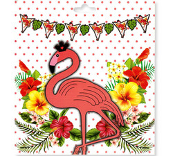 Flama Bayrak Flamingo Taçlı Varaklı Pk:1-300 - Thumbnail