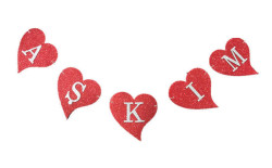 - Kalpli Aşkım Evadan Kırmızı Simli Flama