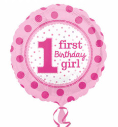 - 1 First Birthday Pembe Folyo Balon (43x43 cm)