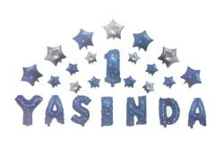 - 1 Yaşında Yıldızlı Set Mavi Folyo Balon (20x40 cm)