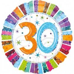 - Radiant 30 Yaş Happy Birthday Folyo Balon 18 inç (45x45 cm)