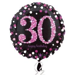 - Pink Celebration 30 Yaş Folyo Balon 18 inç (43x43 cm)