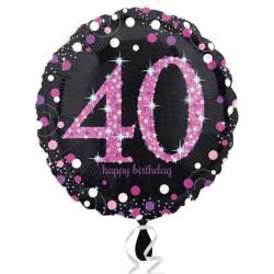 - Pink Celebration 40 Yaş Folyo Balon 18 inç (43x43 cm)