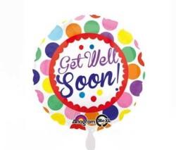 - Get Well Soon Dots Folyo Balon 18 inç (43x43 cm)