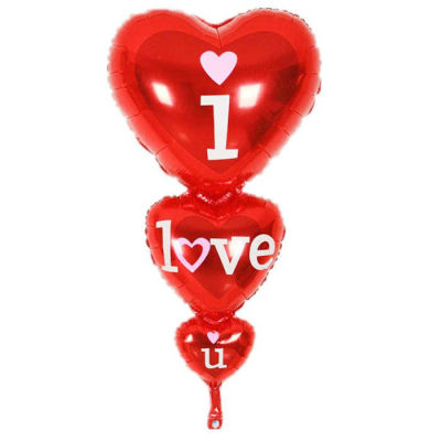 3lü Kalp I Love You Folyo Balon (45x86 cm)