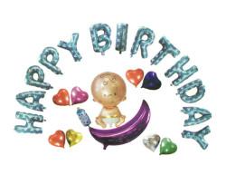 - Bebekli Happy Birthday Set Mavi Folyo Balon (20x40 cm)