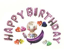 - Bebekli Happy Birthday Set Pembe Folyo Balon (20x40 cm)