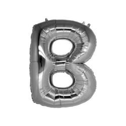- B Folyo Balon Harf Gümüş 16 inç (25x40 cm)