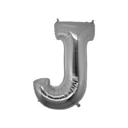 - J Folyo Balon Harf Gümüş 16 inç (25x40 cm)