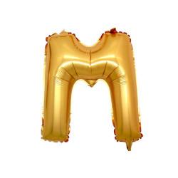 - M Folyo Balon Harf Altın 16 inç (25x40 cm)