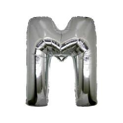 - M Folyo Balon Harf Gümüş 16 inç (25x40 cm)