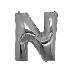 - N Folyo Balon Harf Gümüş 40 inç (100x100 cm)