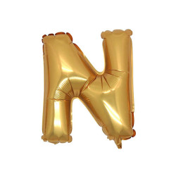 - N Folyo Balon Harf Altın 16 inç (25x40 cm)
