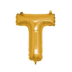 - T Folyo Balon Harf Altın 16 inç (25x40 cm)