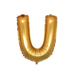 - U Folyo Balon Harf Altın 16 inç (25x40 cm)