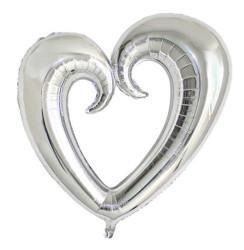 - Kalp Ortası Boş Folyo Balon Gümüş (96x109 cm)