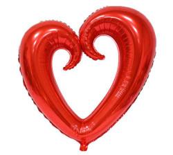 - Kalp Ortası Boş Folyo Balon Kırmızı (96x109 cm)