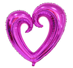 - Kalp Ortası Boş Folyo Balon Mor (96x109 cm)