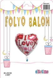 Kalpli I Love You Folyo Balon (38x35 cm) - Thumbnail