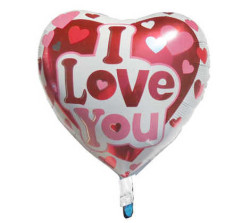 - Kalpli I Love You Folyo Balon (38x35 cm) 10'lu Paket