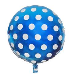 - Puantiyeli Mavi Folyo Balon (35x35 cm) 10'lu Paket