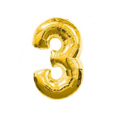 3 Folyo Balon Rakam Altın 40 inç (100x100 cm)
