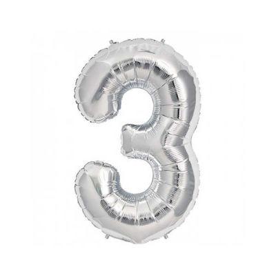 3 Folyo Balon Rakam Gümüş 40 inç (100x100 cm)