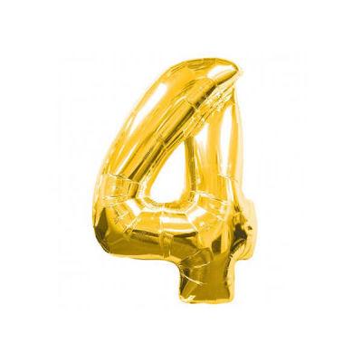 4 Folyo Balon Rakam Altın 40 inç (100x100 cm)