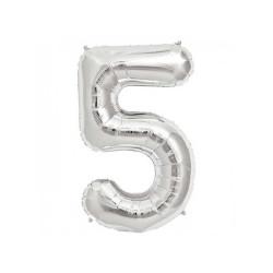 - 5 Folyo Balon Rakam Gümüş 16 inç (25x40 cm)