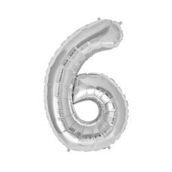 - 6 Folyo Balon Rakam Gümüş 16 inç (25x40 cm)