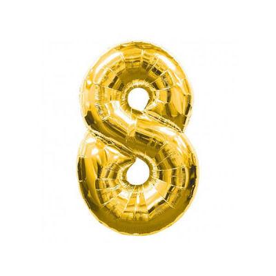 8 Folyo Balon Rakam Altın 40 inç (100x100 cm)