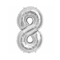 - 8 Folyo Balon Rakam Gümüş 16 inç (25x40 cm)
