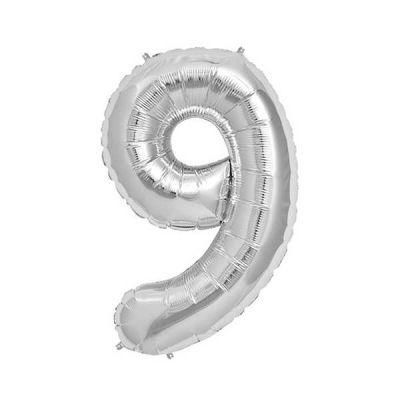9 Folyo Balon Rakam Gümüş 40 inç (100x100 cm)