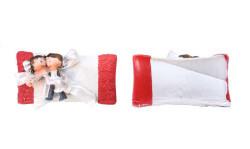 Gelin Damat Kırmızı Yastık - Thumbnail