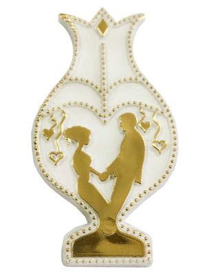 Gelin Damat Laleli Altın Varaklı Plastik Beyaz