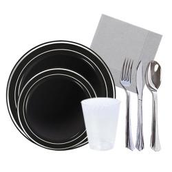 - Gümüş Yaldızlı Siyah Lüks Sofra Seti 12 Kişilik 123 Parça