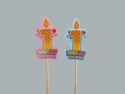 1 Yaş Çubuklu Mavi Happy Birthday