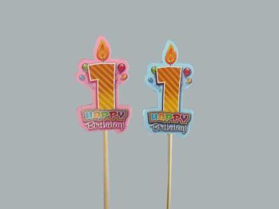 1 Yaş Çubuklu Pembe Happy Birthday
