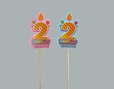 2 Yaş Çubuklu Mavi Happy Birthday