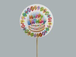 - Çubuklu Yuvarlak Hapy Birthday