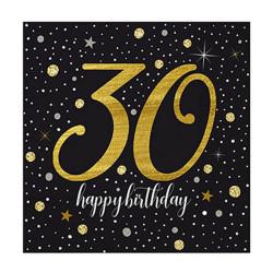 - Işıltılı Doğum Günü 30 Yaş Peçete (33x33 cm) 20'li Paket