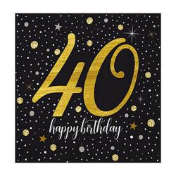 - Işıltılı Doğum Günü 40 Yaş Peçete (33x33 cm) 20'li Paket