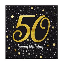 - Işıltılı Doğum Günü 50 Yaş Peçete (33x33 cm) 20'li Paket
