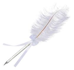 - Kalem Orta Boy Süslü Tüylü Beyaz