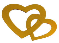 - Kalp Çiftli Metalize Süsleme Altın